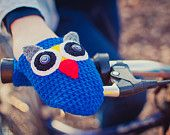 Owl bike hand warmers, bike gloves, crochet accessories for bike riders, autumn, fall, winter, christmas gift, blue, READY TO SHIP