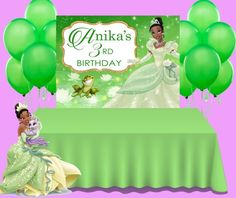 This item is unavailable Birthday Favors, Party Favors, Birthday Parties, Paper Party Bags, Custom Backdrops, Party Pops, Princess Tiana, Birthday Backdrop, Chip Bags