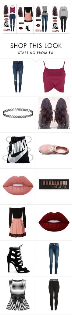 """""""First Page Outfits"""" by destinee-miller15 on Polyvore featuring Miss Selfridge, Topshop, NIKE, Vans, Lime Crime, Forever 21, WearAll and Calvin Klein"""