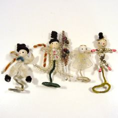 Vintage Christmas Pipe Cleaner and Beaded Tie  by VintageStation on Etsy, $22.00