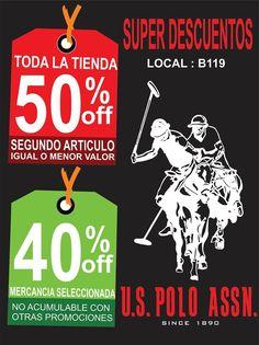 US.POLO.ASSN Toda la tienda con el 50% de #descuento en el 2 articulo y 40% de #descuento en mercancía seleccionada ! Alamedas CC #Piensaenti