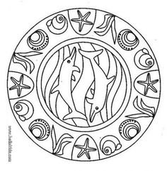 Printable Dolphin Mandala Adult Coloring Page