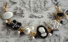 Vintage Bracelet Black and White .. made with Vintage Earrings and a Cameo, between each mounted earring are black glass beads and pearls ..   FOR SALE .. $45.00