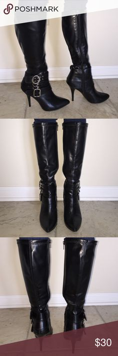 Stylish  Boots👢 Gently used barely any scratches or scuffs! Very comfy!!! Inside zipper and silver buckles. Heel is 3 1/2 inches. Diba Shoes Heeled Boots
