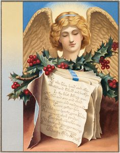 Vintage Angel with Holly Image