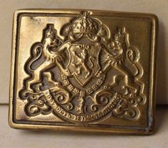 Vintage Military Bulgarian Royal Brass Belt Buckle Coat Of Arms Three Lions
