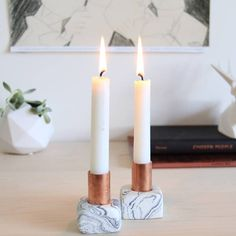 <p>These candleholders were created using oven-bake clay and copper piping. For the full tutorial visit http://thefeltedfox.blogspot.com</p>