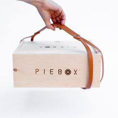 PieBox: Wooden Pie Carrier with Leather Strap/Handle