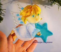 Купить Елочная игрушка из стекла Рождественский ангел летящий в интернет магазине на Ярмарке Мастеров