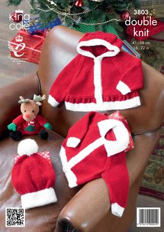 Childrens Knitted santa suit Jackets and Hat - King Cole Christmas knitting
