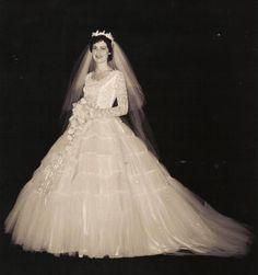 1956 Bride. Beautiful wedding dress.