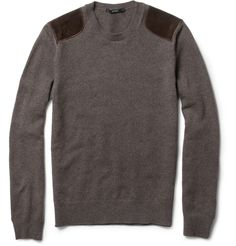 GucciSuede-Patch Wool and Cashmere-Blend Sweater|MR PORTER