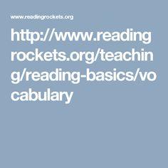 UNDERSTANDING-Vocabulary  http://www.readingrockets.org/teaching/reading-basics/vocabulary