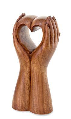 Hand Crafted Romantic Sculpture - Faithful Heart | NOVICA