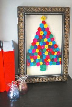 DIY Christmas Tree Pom Pom Art