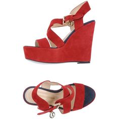 Trussardi Jeans Sandals ($160) ❤ liked on Polyvore featuring shoes, sandals, red, red shoes, leather wedge sandals, wedge heel sandals, rubber sole shoes and red sandals