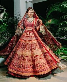 Gorgeous red gold traditional Indian wedding lehenga. #Frugal2Fab