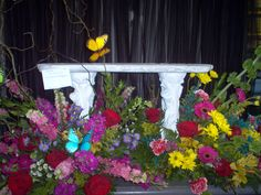 Memory Bench Surrounded by flowers