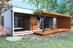 5 Inexpensive Modern Prefab Houses You Can Buy Right Now – My Life Spot Container House Plans, Container House Design, Small House Design, Shipping Container Homes, Prefab Homes, Small House Plans, Bungalows, House In The Woods, Architecture Design