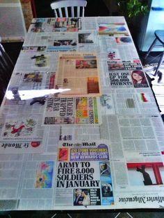 Table newspaper resin