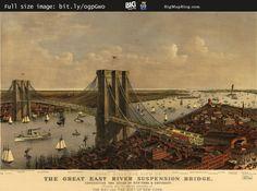 #Brooklyn Bridge by Currier & Ives (1885) #nyc — http://www.bigmapblog.com/2011/brooklyn-bridge-by-currier-and-ives-1885/