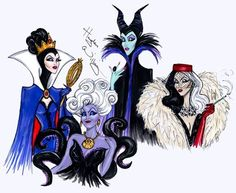 The Disney Villains are out to play! Happy Halloween from The Evil Queen, Ursula, Maleficent & Cruella. Disney Magic, Evil Disney, Dark Disney, Disney Fan Art, Disney Love, Disney Style, Disney Villains Art, Disney Couples, Dr Facilier