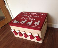 Large decorated, personalised wooden box, Family Christmas Eve Box. Christmas treat. Family fun.