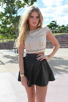 Leather & crop top
