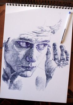 bic on paper, Sarah Muirhead drawing.