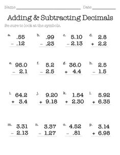 This worksheets can be used to practice the basic fundamentals of adding and subtracting decimals. Addition and subtraction are mixed about thr. Grade 5 Math Worksheets, Decimals Worksheets, Math Resources, Teaching 5th Grade, Fifth Grade Math, Teaching Math, Adding Decimals, Homeschool Math, Homeschooling
