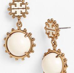 Tory Burch, golden earrings, accessories.
