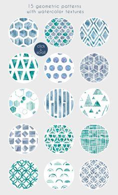 Winter GEOMETRY pattern set by Miraclesshop on @creativemarket