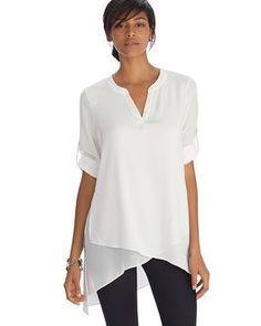 White House   Black Market Long Sleeve Asymmetrical Henley Tunic Top #whbm
