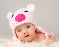PINK PIG HAT Girls Crocheted with Ear Flaps & Ties Made with Soft , Fluffy, Bulky Yarn Size Preemie/ Newborn/ 3 up to 6 Months