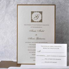 Wedding Invitation Two Layers Shimmer Gold