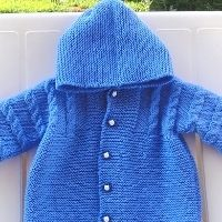 A knitted blue jacket with buttons down the front and an attached hood Baby Sweater Knitting Pattern, Baby Knitting, Cute Babies, Baby Kids, Baby Sweaters, Different Patterns, Irene, Grandkids, Ravelry