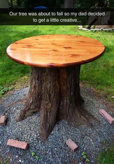 "Save the tree trunk... have a ""Green"" outdoor table..."
