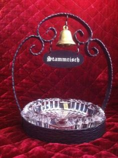 Rare Authentic Vintage CIGAR Ashtray Wrought Iron Stand w Bell VMC Reim FRANCE