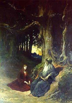"Avalon Camelot King Arthur:  ""#Viviane and #Merlin in a #Forest,"" by Gustave Doré."