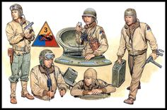 US Army tank crew 1944 Military Photos, Military Art, Military History, Us Army Uniforms, 40k Armies, Sherman Tank, Military Figures, American Soldiers, War Machine