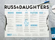 "escapekit: "" Russ & Daughters Designer Kelli Anderson recently completed the identity for, Russ and Daughters. Working alongside Jen Snow, the project encompassed everything from the identity to menus. Restaurant Branding, Restaurant Menu Design, Restaurant Ideas, Outdoor Restaurant, Restaurant Interiors, Russ And Daughters Nyc, Graphic Design Typography, Branding Design, Food Branding"