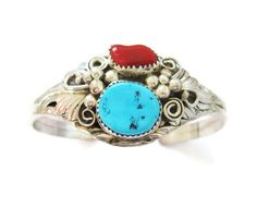 Turquoise Coral Cuff Bracelet Sterling Navajo Augustine Largo Vintage - pinned by pin4etsy.com
