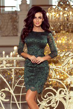 d95b53e994 180-3 Sukienka koronkowa z ozdobnymi wykończeniami - ZIELONA jasna