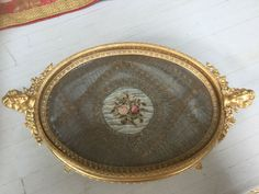 Antique signed Austria gilt bronze vanity/dresser tray w petit point roses Dresser Vanity, Dresser Sets, Vanity Tray, Dresser With Mirror, Vanity Set, Oval Mirror, Beveled Mirror, Perfume Tray, Perfume Bottles