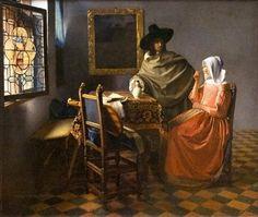 O copo de vinho, óleo sobre tela por Jan Vermeer (1632-1675, Netherlands)