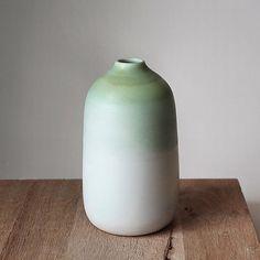Barbara Lormelle • White & pale green porcelain vase. Porcelain Vase, Stoneware, Photos, Instagram, Green, Handmade, Paris, Home Decor, Author