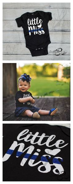 wow too cute! Little Miss Thin Blue Line Infant Bodysuit #thinblueline #policewife #babygirl #etsy #ad
