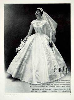 1956 Ad Vintage Taffeta Wedding Dress Jessica Pandora Chantilly Lace YBSM1