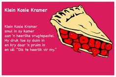 Klein Kosie Kramer - Kinderrympies in Afrikaans Preschool Learning, Afrikaans, Kids And Parenting, Book Lovers, Songs, Education, Fun, Kids, Onderwijs