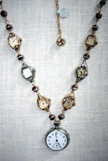 Beautiful up-cycled vintage watch necklace by Erica at Imakdee.blogspot.com Etsy.com/shop/Imakdee